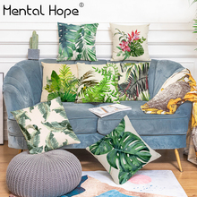 Tropical Style Cushion Cover Linen Cotton Palm Leaf Pattern Throw Pillow Cover Home Decor Living Room Square Pillowcase chinese style paisley pattern square shape flax pillowcase without pillow inner