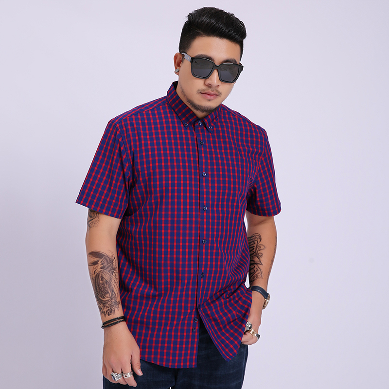 2020 New Arrival Summer Men Short Sleeved Cotton Lattices Casual Fashion Casual Shirts Mens Large Plus Size 4XL 5XL 6XL 7XL 8XL
