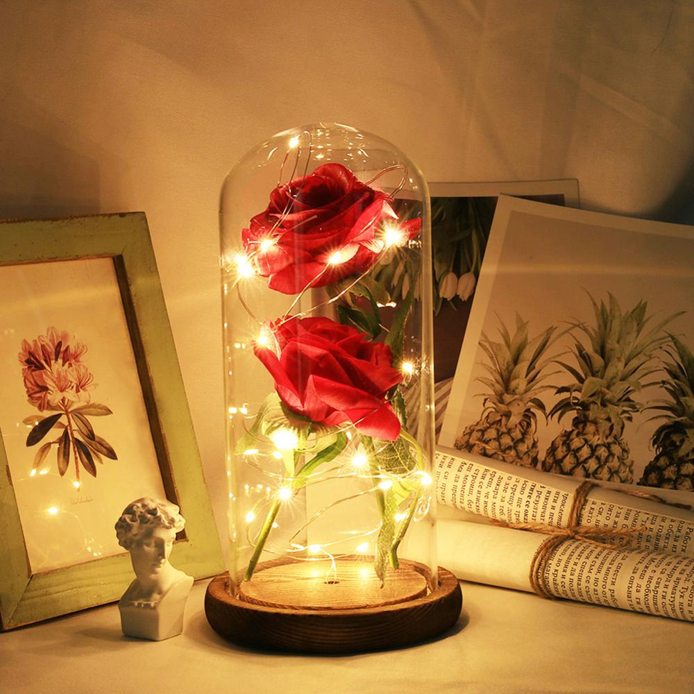Red Rose Wooden-Base Led-Rose-Lamps Glass Dome Valentines-Day-Gift Christmas Beauty The title=