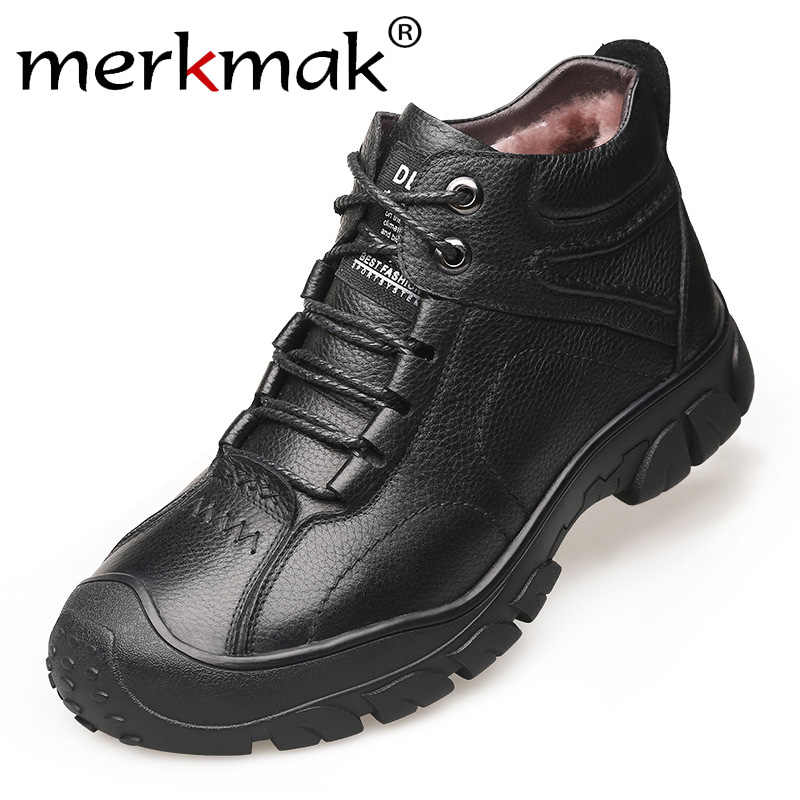 Merkmak Winter Booties Business Casual Leder Schuhe Plus Samt Warme Leder Ankle Booties Mode Lace-up Big Size Arbeit schuhe