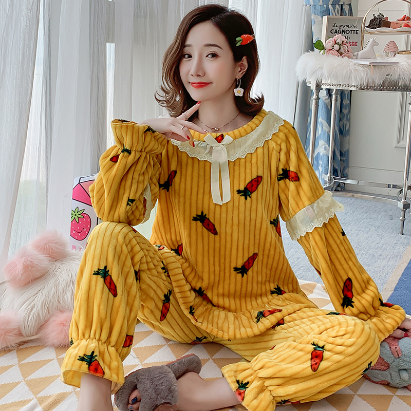 Loungewear Women 2019 Winter Warm Flannel Pajamas Set For Women New Air Cotton Print Christmas Clothes Thicken Home Service