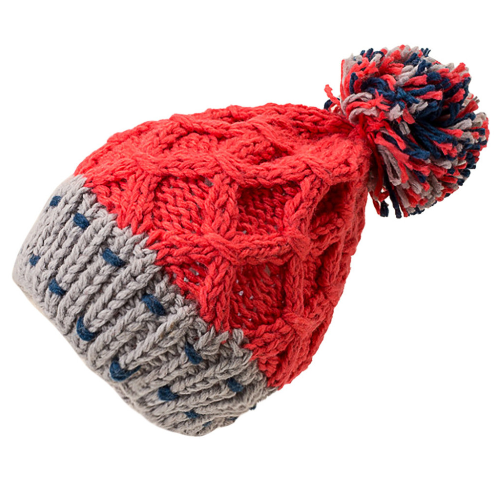 Fashion Women Cute Patchwork Thermal Woolen Hat Knitted Hat Bucket Hat Cap Colorful Winter Accessories 30DE22 (3)