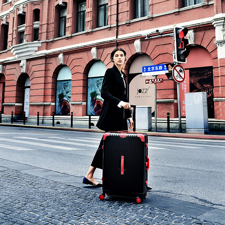 818-Panda Luggage Men's Aluminum Frame Travel Trolley Korean-style Universal Wheel 24-Inch Women's Password Suitcase College Stu