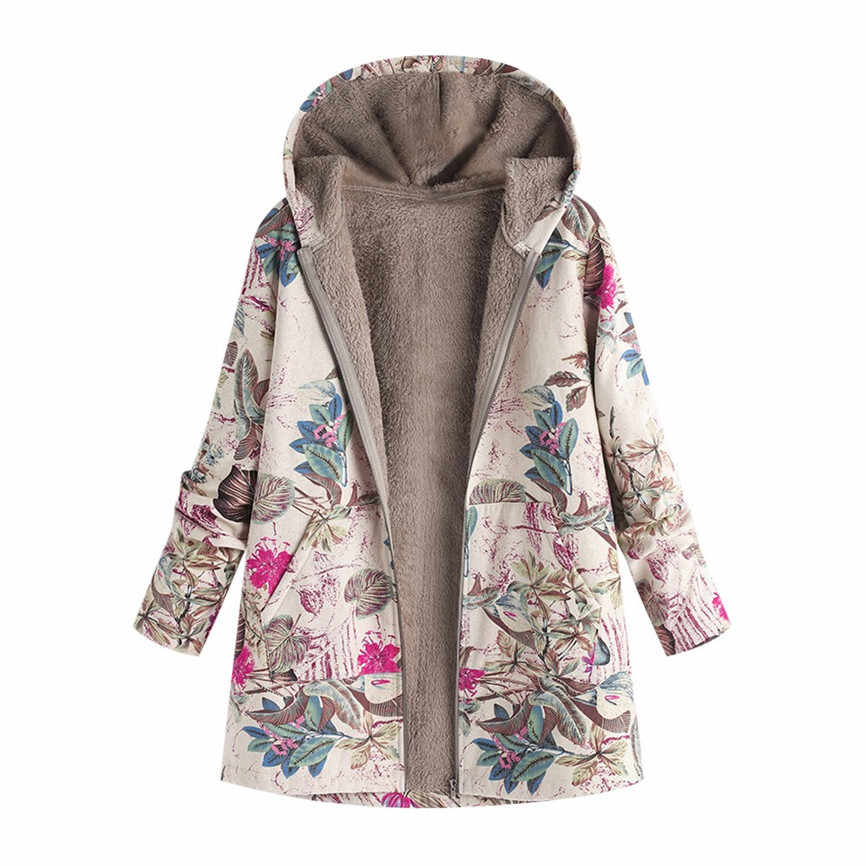 Female Jacket Plush Coat Women's Windbreaker Winter Warm Outwear Floral Print Hooded Pockets Vintage Oversize Coats Plus Size