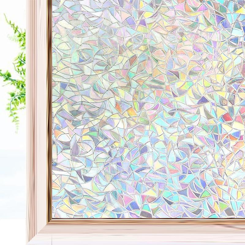 Оконная пленка с 3D эффектом радуги, декоративная пленка для конфиденциальности, антиуф-клейкая статическая липкая стеклянная наклейка для ...