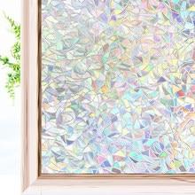 Efekt tęczy 3D folie okienne prywatność folia dekoracyjna anty-uv nieprzylepne statyczne przylgnięcie szklana naklejka do domowego biura kuchennego
