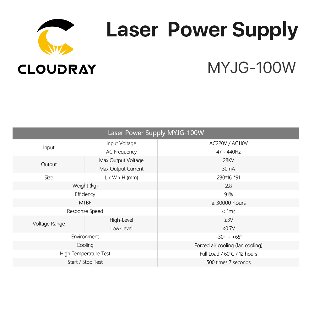 """""""Cloudray"""" 80–100 W CO2 lazerio maitinimo šaltinis, skirtas - Medienos apdirbimo mašinų dalys - Nuotrauka 4"""