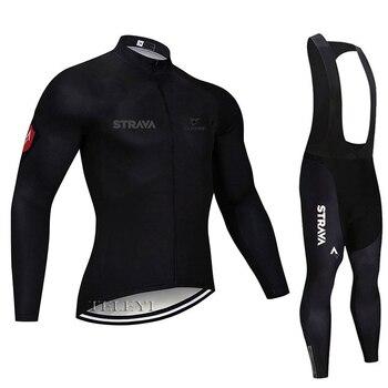 2019 strava outono manga longa camisa de ciclismo conjunto bib calças ropa ciclismo roupas de bicicleta mtb camisa uniforme roupas masculinas 9