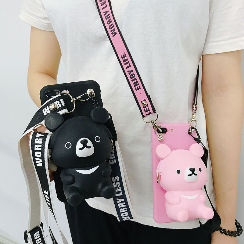 3D <font><b>Cute</b></font> Cartoon Bear Wallet Soft Silicone <font><b>Case</b></font> For <font><b>Samsung</b></font> Galaxy 8 S9 S9PLUS <font><b>A10</b></font> M10 Card wallet Anti-fall Lanyard Strap Cover image