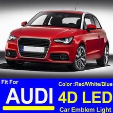 18.2cm 27.3cm 28.5cn logotipo do carro emlem 4d led luz frente capa cabeça tronco traseiro cobre bota distintivo para a3 a5 a7 a4l a6l q3 q5 tt