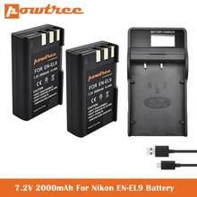 EN-EL9 RU EL9a Батарея + Зарядное устройство для Nikon D40, D40X, D60, D3000, D5000 камеры, Замена для Nikon EN EL9, EN-EL9a & MH-23 L50