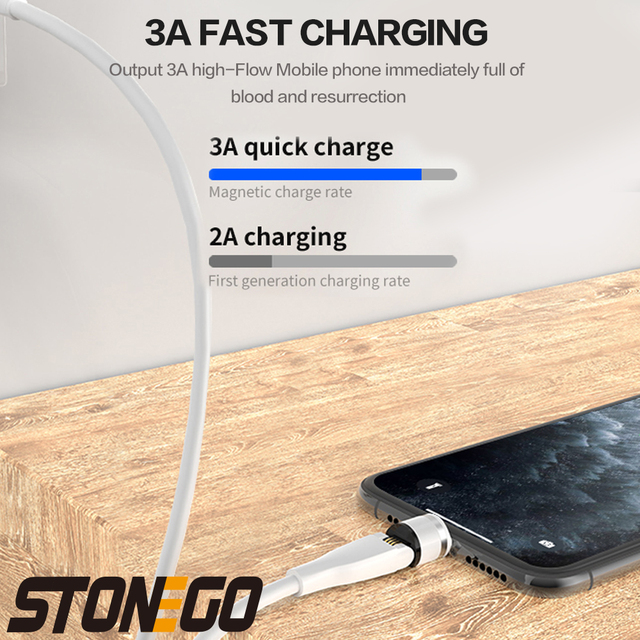 STONEGO 540° Rotating Charging Cable, 3A Magnetic USB Cables Fast Charging Data Sync Type-C / Micro USB Cable 5