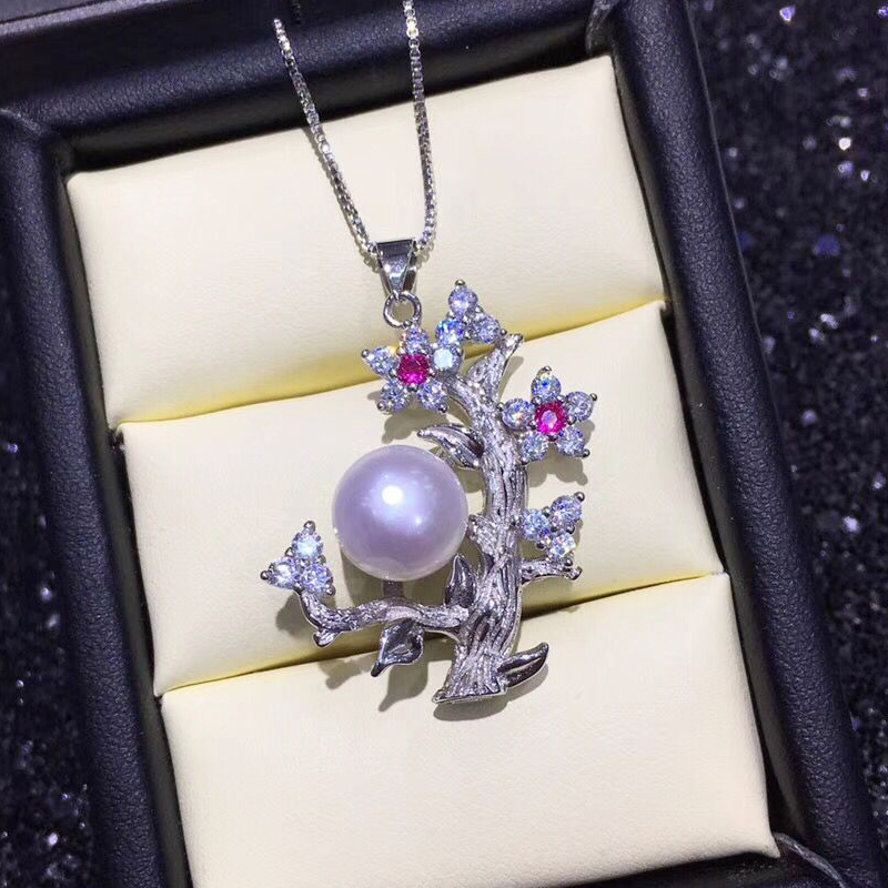 FENASY Natural Freshwater Pearl Pearl Pendant Necklace For Women 925 Sterling Silver Flower Pendant Custom Boho Jewelry