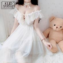 Summer Dress Adult Sexy Off-the-shoulder White Dress Women Chiffon Sweet Lolita Lace Dress For Girl Sweet Lolita Cosplay Costume все цены