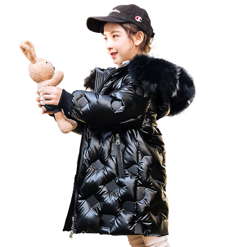 Waterproof Hooded Shiny Girl Jacket 5-14 Years Kids Teenagers Parka Child Coat 2020 Russian Winter Down Jacket For Girls