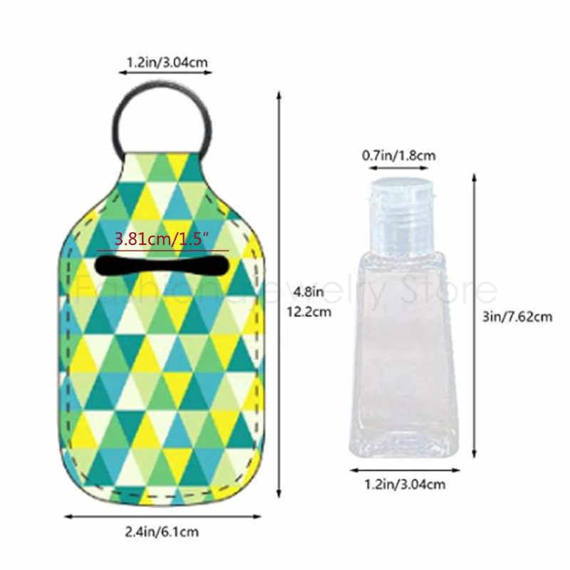 4Pc mała pusta butelka podróżna pojemniki wielokrotnego użytku 30ML wieczko na zatrzask wielokrotnego użytku butelka odkażacz do rąk brelok uchwyt przewoźnika