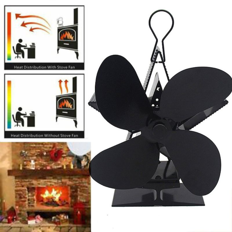 4 Blade Star Heat Powered Wood Stove Fan Log Burner Fireplace Quiet Eco Friendly