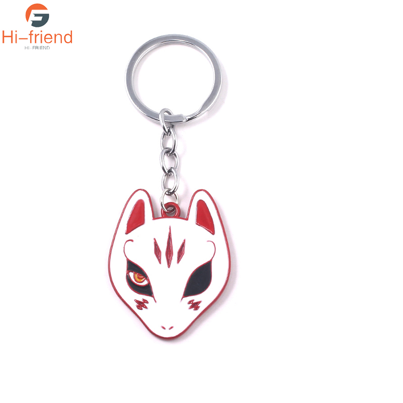 Game Persona 5 Necklace Cartoon White Color Enamel Fox Mask Yusuke Kitagawa Personality Charm Keyring For Man Woman Jewelry image