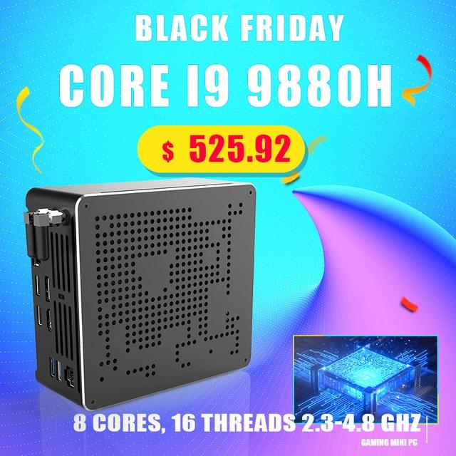 Najnowszy Mini komputer Intel i9 10880H i9 9880H i7 9850H 2 * DDR4 2 * M.2 PCIE + 1*2.5 SATA Graphics 630 cisza gier PC HDMI DP AC WiFi BT