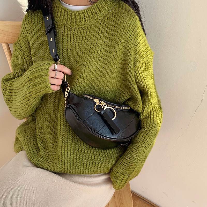 Fashion Designer Quality PU Leather Crossbody Bags For Women 2020 New Mini Half Moon Chest Bags Lady Purses