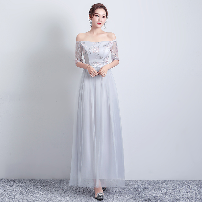 Gray Bridesmaid Dresses Simple A-Line Boat Neck Maid Of Honor Dresses For Weddings Vestidos Mujer Wedding Guest Dress Elegant