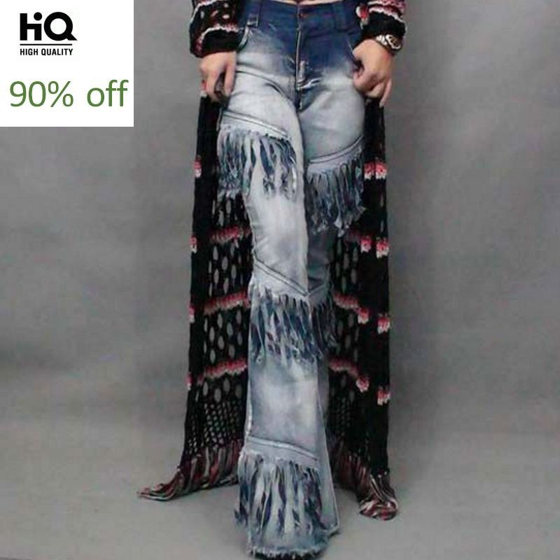 2020 New Fashion Sexy Women's Vintage Chic Bell Bottoms Denim Female Wide Flared Jeans Lace Up Tassel Ladies Long Pants Stretchy