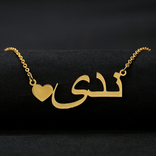Custom Heart Arabic Name Necklace Women Fashion Jewelry Personalized Muslim Words Pendant With