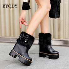 BYQDY Woman High Top Ankle Boots Rabbit Fur Soft Leather Female Bow-knot Snow Platform Shoes Russian Xmas Gift