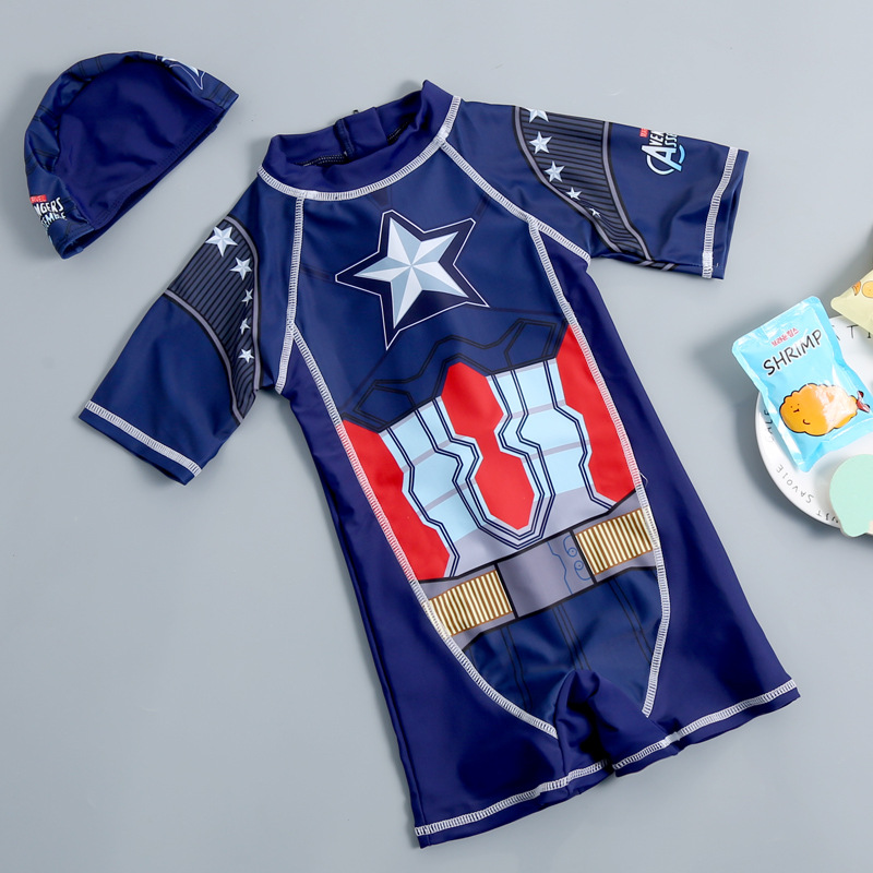 America Captain KID'S Swimwear One-piece Boxer Outdoor Sports Zipper BOY'S Tour Bathing Suit Kids Swimwear With Swim Cap