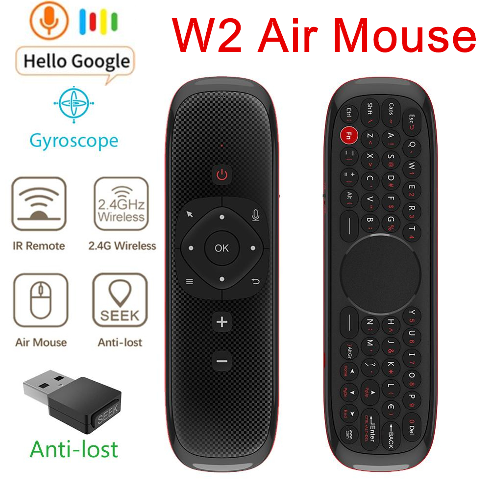 W2 Fly Air Mouse Voice Remote Control Microphone 2.4G Wireless Mini Keyboard Gyroscope Sensing for Smart Android Tv Box/PC PK W1