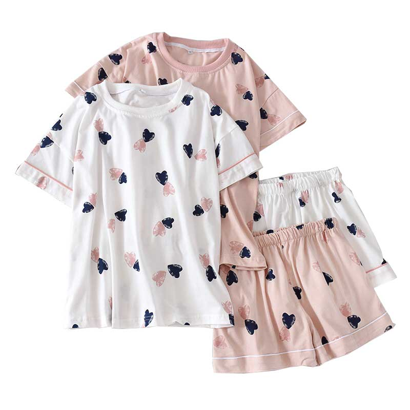 Summer New Japanese Style Pyjamas Set Ladies Fresh Style Short Sleeve Heart Printed O-Neck Women Comfort Full Cotton Homewear