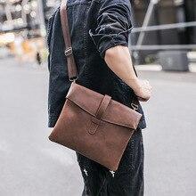 Men's Briefcase Messenger Bag Bolso Hombre PU Sac Homme Japan Style Envelope Cell Phone Pocket Thin Shoulder Bag Saddle Flap