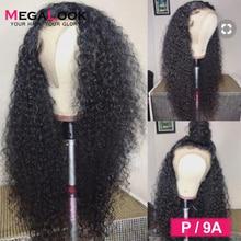 מונגולי קינקי מתולתל פאת שיער טבעי 360 תחרה פרונטאלית פאה מראש קטף עם תינוק שיער פרונטאלית פאות רמי Megalook שיער 30 אינץ פאה