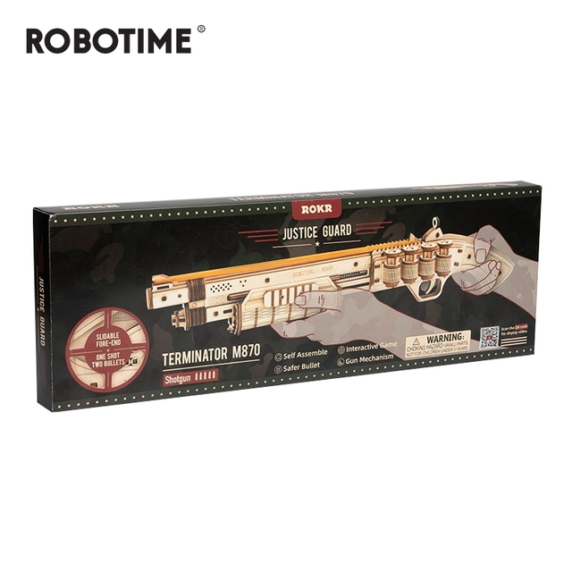 Robotime 172pcs DIY 3D Scatter with Rubber Band Bullet Wooden Gun Puzzle Game Popular Toy Gift for Children Adult LQ501