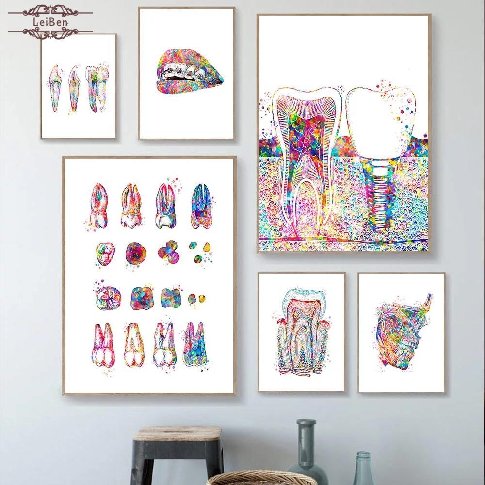 Постер для стоматологических имплантов, Картина на холсте с цветными зубами для здоровья полости рта, медицинская Настенная картина для де...