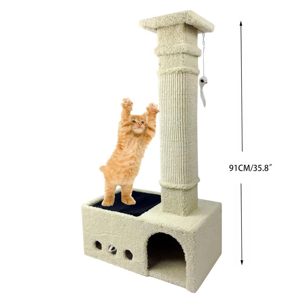 Cat Scratching Tree Play Condo with Balls  Assembly Mouse Magic Type Cat Toys Big Cat Play Tree Cashmere Cover Warm Sleeping