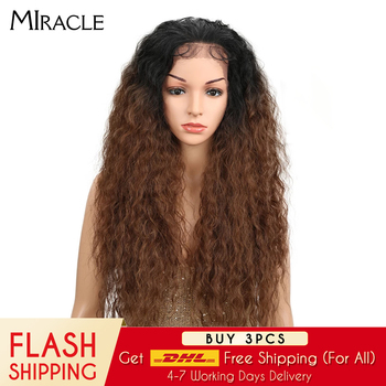 цена на Miracle Synthetic Lace Front Wig Free Part Long Cosplay Wig  Ombre Lace Front Baby Hair Wigs Synthetic Afro Wigs For Black Women