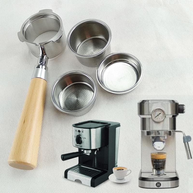 Stainless steel coffee filter wood coffee machine handle holder coffee basket 51mm powder cup