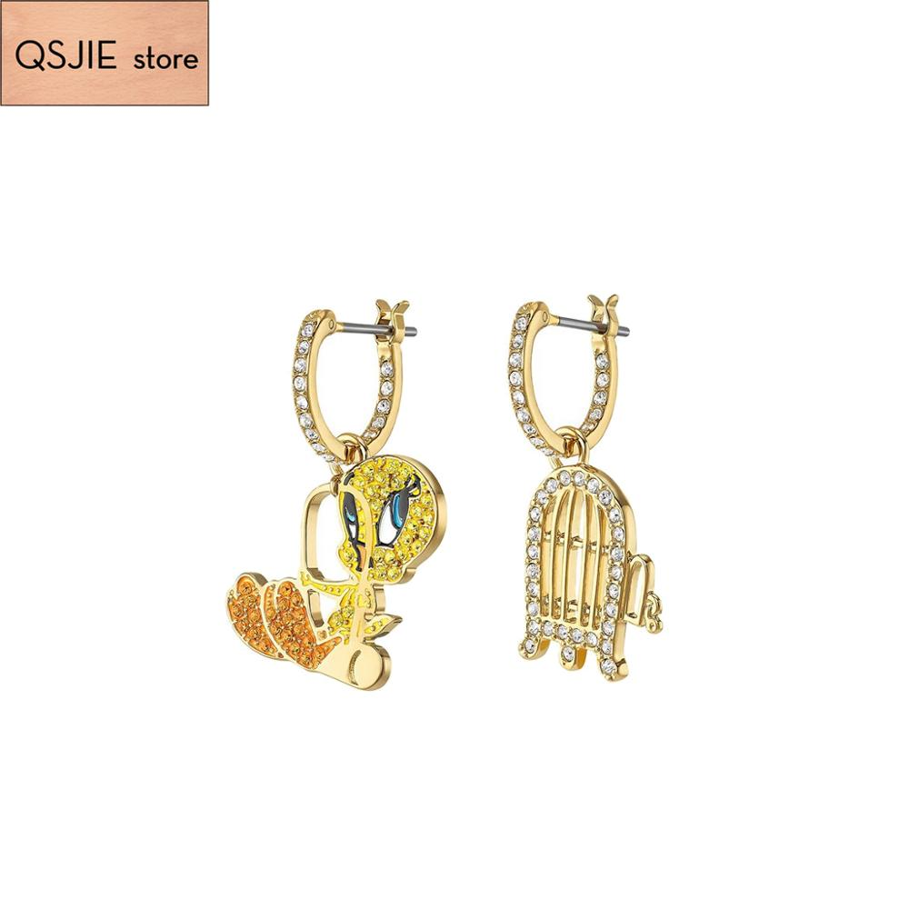 Qsjie high quality SWA fashion yellow duck asymmetric cute girlfriend Earrings Charm Jewelry