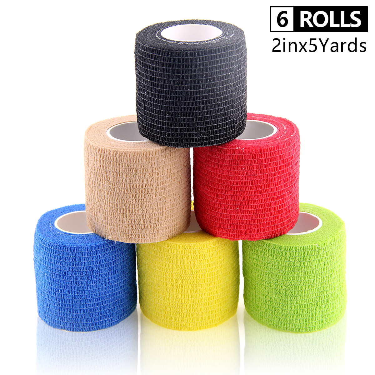 6 Rolls Selbst-Adhesive Verband Wasserdicht Vlies Gym Übung Sport Band Atmungs Handgelenk Wraps Cohesive Bandage 5cm * 4,5 m