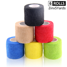 6 Rolls Self Adhesive Bandage Waterproof Non Woven Gym Exercise Sport Tape Breathable Wrist Wraps Cohesive Bandage 5cm*4.5m