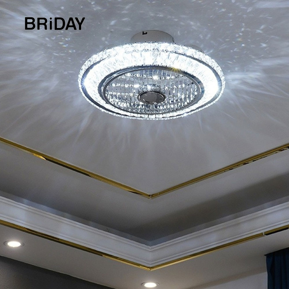 50cm Crystal Led Ceiling Fan Lamp With Lights Remote Control Ventilator Lamps Silent Motor Bedroom Decor Modern Fans Ceeling Fashionable Patterns
