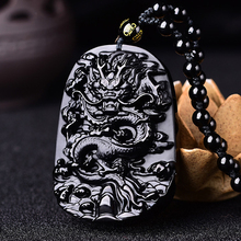 Dragon Natural Black Obsidian Jade Pendant Necklace Chinese Hand-Carved Fine Charm Jewelry Amulet Accessories for Men Women chinese natural ice obsidian hand carved blessing maitreya buddha pendant