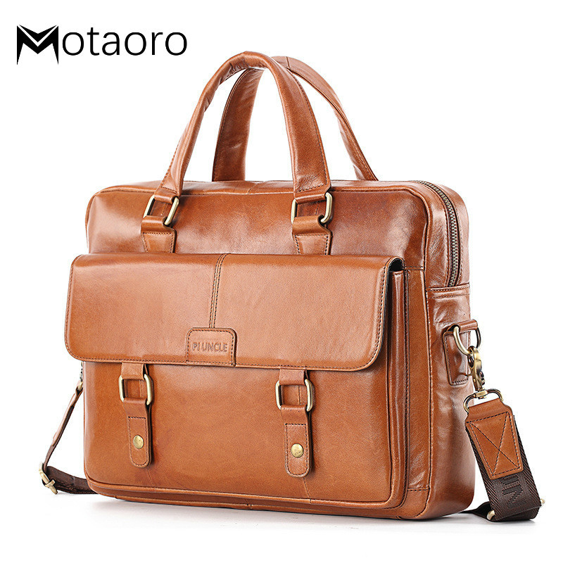 Briefcases For Lawyers Genuine Leather Men Briefcase Man Shoulder Crossbody Bags Large Capacity Travel Black Messenger Men Bag