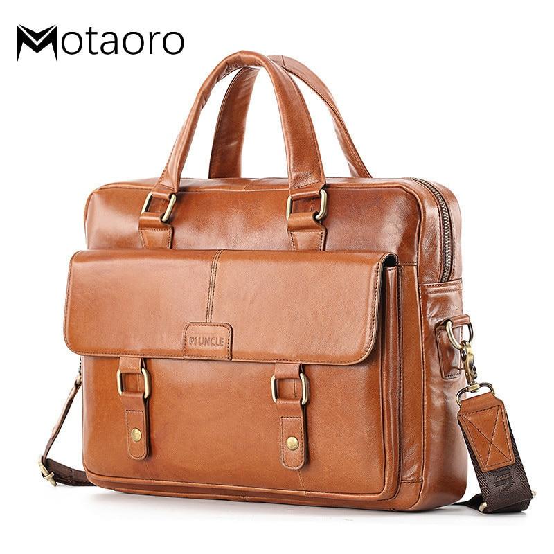 Briefcases For Lawyers Genuine Leather Men Briefcase Man Shoulder Crossbody Bags Large Capacity Travel Black Messenger Men Bag