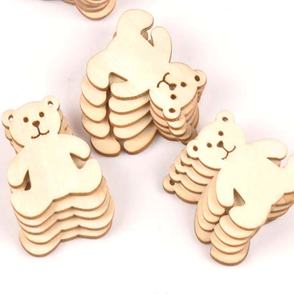 12 Pieces Of Small Bear Pattern Woodwork DIY Crafts Scrapbook Home Decoration Natural Wooden Ornaments And Accessories