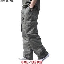秋冬メンズ貨物パンツプラスサイズサファリスタイルポケット厚いパンツ6XL 7XL 8XLアウトドアスリムストレートパンツルーズアーミーグリーン48
