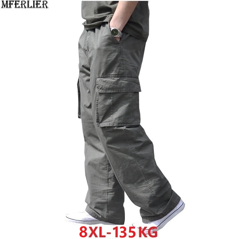 Spring Summer Men Cargo Cotton Pants Safari Style Pocket Zipper Plus Size Big 6XL 7XL 8XL Out Door Pants Casual Loose Army Green