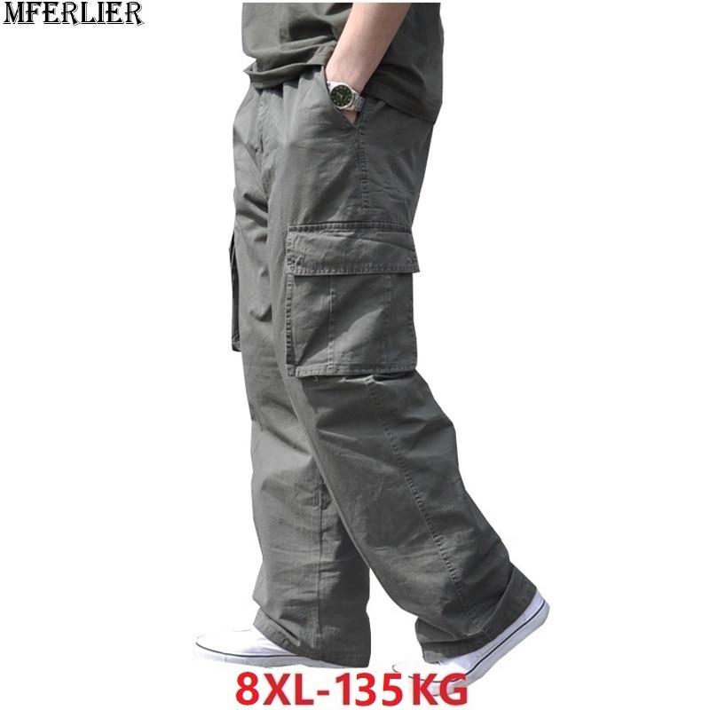 Spring Summer Men Cargo Cotton Pants Safari Style Pocket Zipper Plus Size Big 6XL 7XL 8XL Out Door Pants Casual Loose Army Green