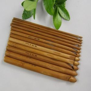 Image 2 - 12 adet bambu tığ kanca seti DIY örme İğneler kolu ev örgü örgü ipliği el sanatları ev örgü araçları